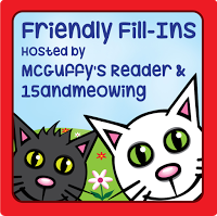 Friendly Fill Ins badge with two cartoon cats heads